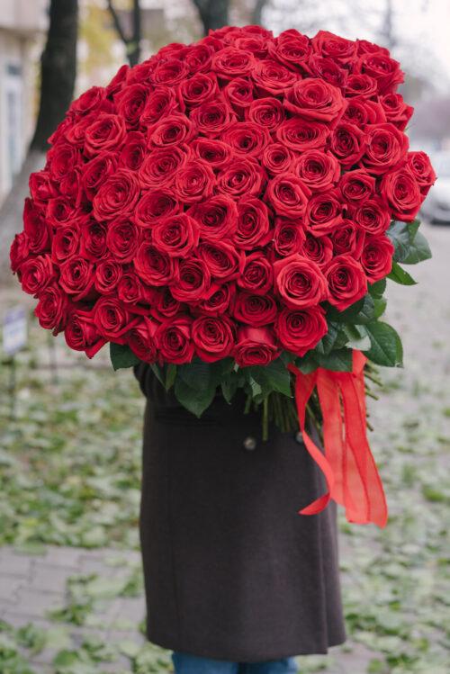 Buchet Urias Cu 101 Trandafiri Rosii