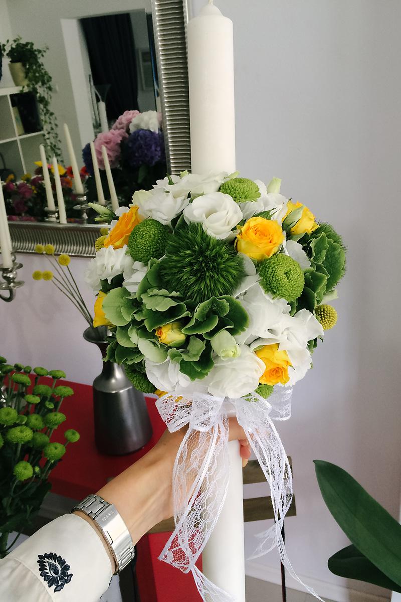 Lumanare Botez Hortensie Garoafe Trandafiri Lisianthus