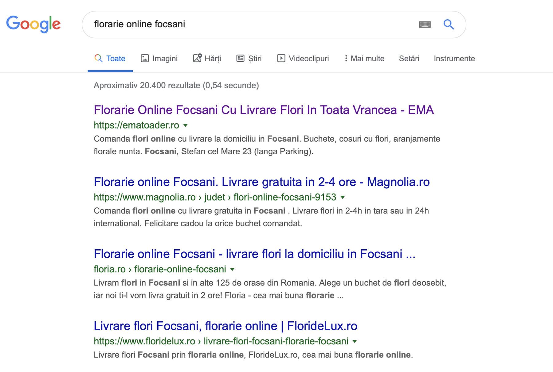 Optimizare Florarie Online